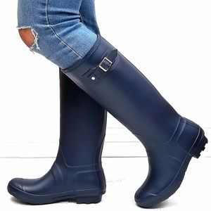New Blue Slim Calf Knee High Tall Rain Boots